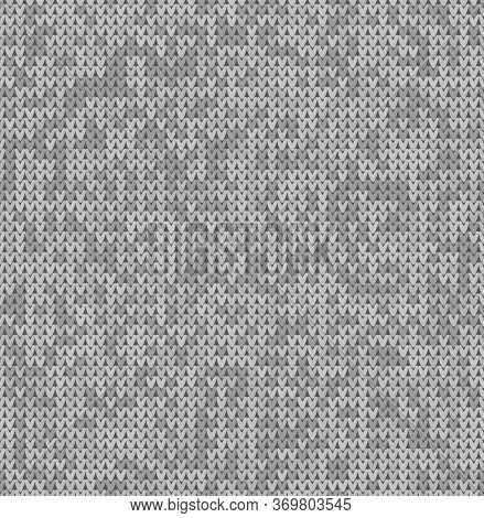 Gray Knit Texture Seamless Pattern. Knitted Realistic Background. Christmas Knitted Background For B