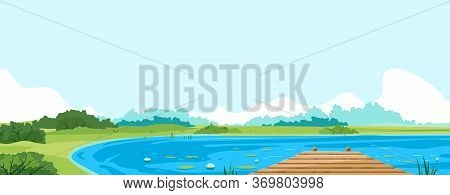 Wooden Pier Of Boards On Lake In Front View Nature Landscape Panorama, Quiet Scenic Place For Fishin