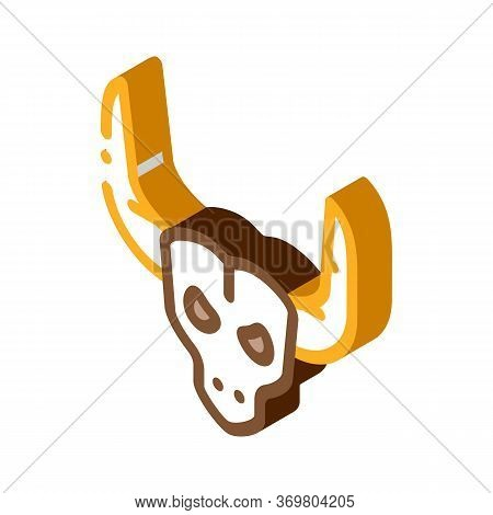 Bull With Horns Icon Vector. Isometric Bull With Horns Sign. Color Isolated Symbol Illustration