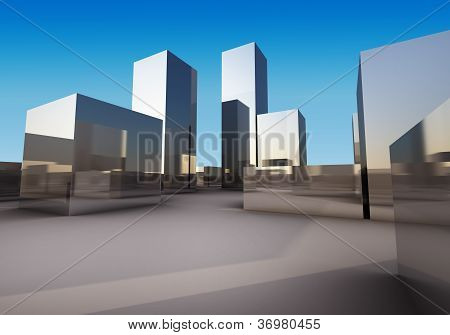 Abstract Of Chromium Box Building 3D Rendering
