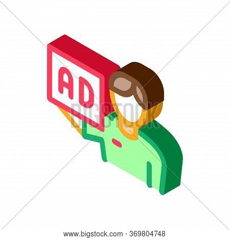 Ad For Courier Position Icon Vector. Isometric Ad For Courier Position Sign. Color Isolated Symbol I