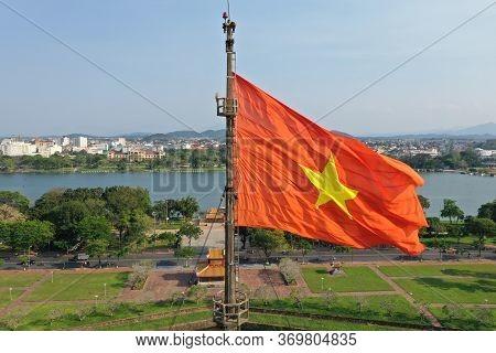 Vietnamese Flag Flying High In Imperial City Of Hue