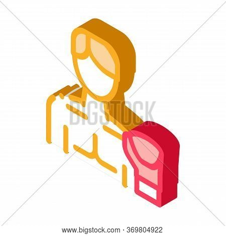 Boxer Man Icon Vector. Isometric Boxer Man Sign. Color Isolated Symbol Illustration
