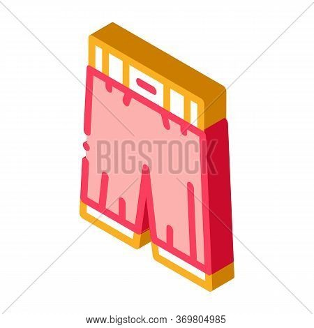 Protective Boxing Pants Icon Vector. Isometric Protective Boxing Pants Sign. Color Isolated Symbol I