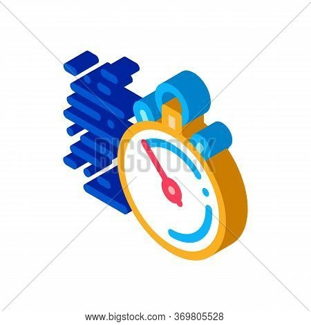 Stopwatch Time Icon Vector. Isometric Stopwatch Time Sign. Color Isolated Symbol Illustration