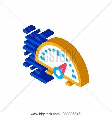 Speedometer Icon Vector. Isometric Speedometer Sign. Color Isolated Symbol Illustration