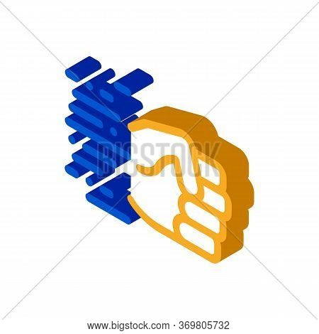 Fast Fist Hit Icon Vector. Isometric Fast Fist Hit Sign. Color Isolated Symbol Illustration