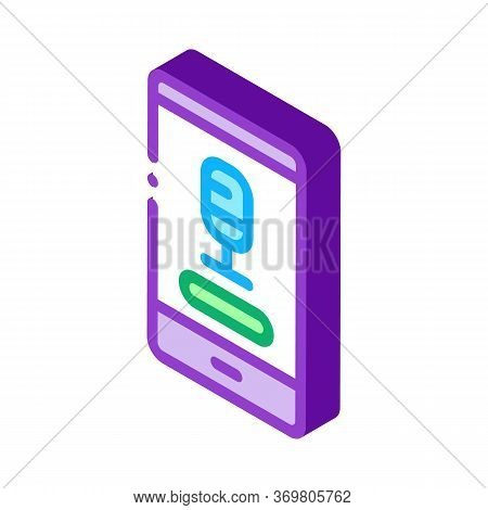 Phone Recording Icon Vector. Isometric Phone Recording Sign. Color Isolated Symbol Illustration