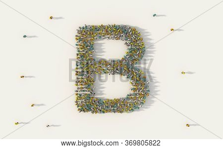 Large Group Of People Forming Letter B, Capital English Alphabet Text Character In Social Media And