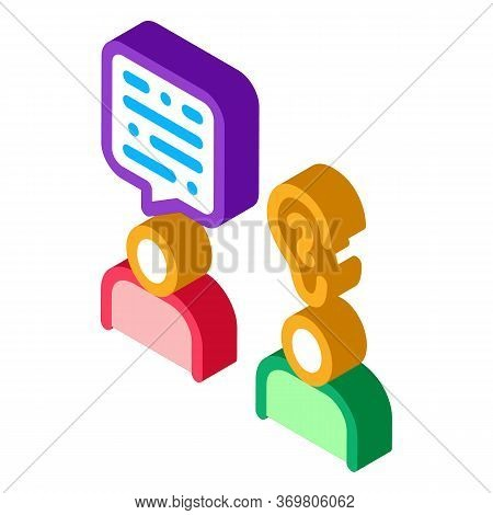 Speak And Listen Icon Vector. Isometric Speak And Listen Sign. Color Isolated Symbol Illustration