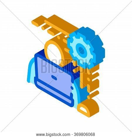 Programmer Work Icon Vector. Isometric Programmer Work Sign. Color Isolated Symbol Illustration