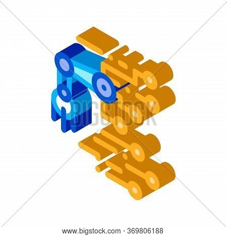 Robot Microchip Icon Vector. Isometric Robot Microchip Sign. Color Isolated Symbol Illustration