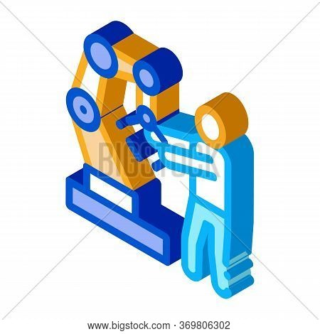 Man And Robot Arm Icon Vector. Isometric Man And Robot Arm Sign. Color Isolated Symbol Illustration