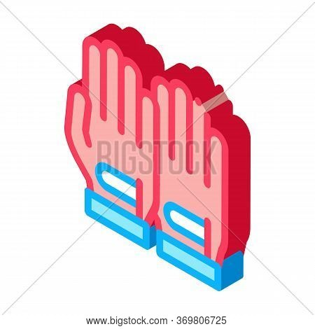 Sportive Gloves Icon Vector. Isometric Sportive Gloves Sign. Color Isolated Symbol Illustration
