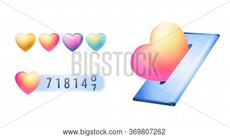 Social Media Like Counter Or Satisfaction Rating Concept On White Isolated Background. Realistic Pho