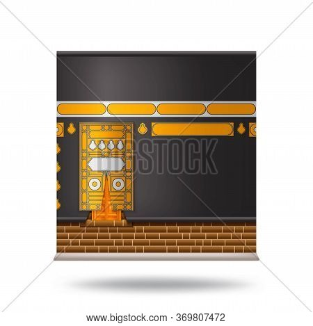 Kaaba In Mecca Icon Design With Beautiful Black Silk Kiswa. Wall With Door. Vector Illustration