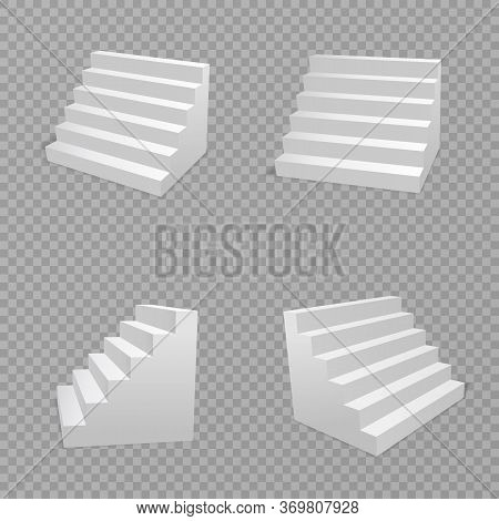 White Stairs Isolated In Transparent Background. Staircase Isolated, 3d Stairway For Interior Stairc