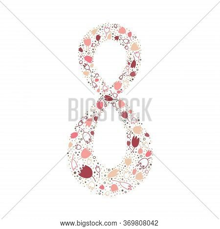 Ornamental Tulips Decorated With Eight. Rosy Illustration. Perfect For Cards, Posters, Flyers, Invit