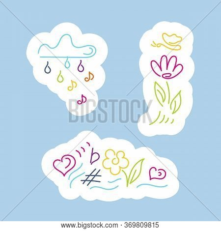 Stickers. Cloud With Rain Of Notes, Flower, Butterfly, Rainbow, Musical Notation