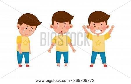 Little Boy Crying And Standing With Puzzled Expression On His Face Vector Set