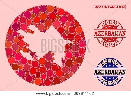 Vector Map Of Azerbaijan Collage Of Spheric Items And Red Rubber Seal Stamp. Subtraction Round Map O
