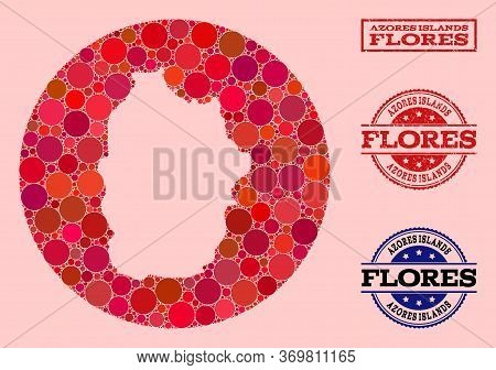 Vector Map Of Azores - Flores Island Mosaic Of Spheric Items And Red Watermark Seal Stamp. Stencil R