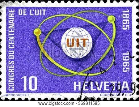 02 10 2020 Divnoe Stavropol Territory Russia The Postage Stamp Switzerland 1965 I.t.u. Congress 1965