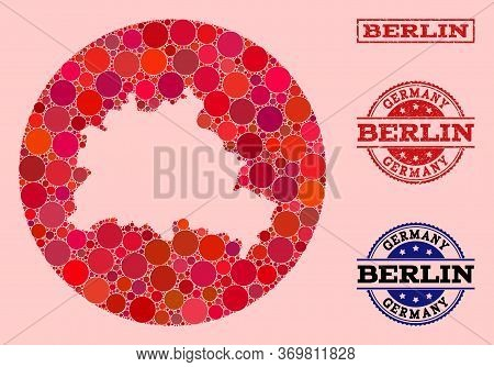 Vector Map Of Berlin City Collage Of Circle Elements And Red Watermark Seal Stamp. Subtraction Circl