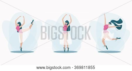Set Of Beautiful Poses Of A Dancing Girl. Girl In A Beautiful Dance Jump. Elegant Pose On One Leg. A
