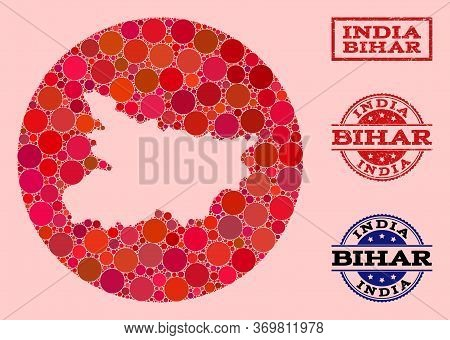 Vector Map Of Bihar State Collage Of Spheric Elements And Red Scratched Seal. Subtraction Round Map
