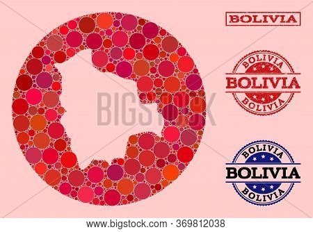Vector Map Of Bolivia Collage Of Circle Dots And Red Grunge Stamp. Subtraction Circle Map Of Bolivia