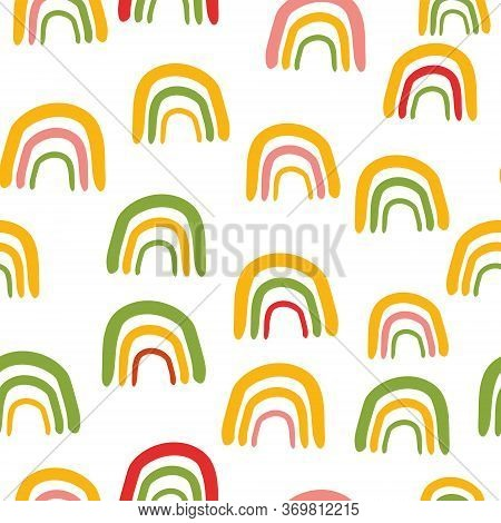 Geometric Abstract Seamless Pattern. Summer Background With Green And Yellow Rainbow Arcs.