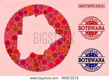 Vector Map Of Botswana Collage Of Circle Dots And Red Grunge Stamp. Hole Circle Map Of Botswana Coll