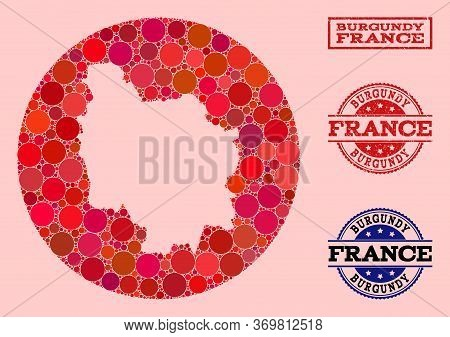 Vector Map Of Burgundy Province Collage Of Round Blots And Red Rubber Seal. Stencil Round Map Of Bur