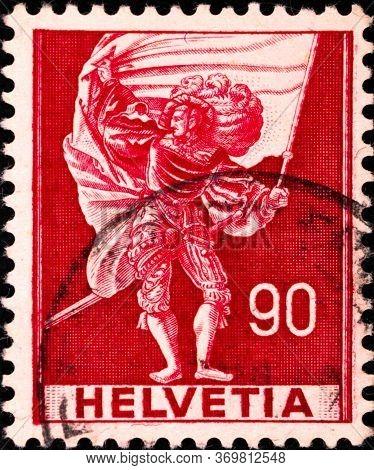 02 08 2020 Divnoe Stavropol Territory Russia The Postage Stamp Switzerland 1959 Historical Represent