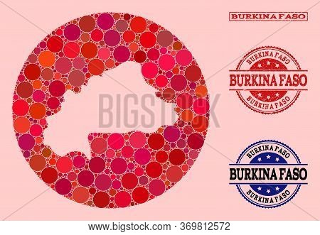 Vector Map Of Burkina Faso Collage Of Round Elements And Red Scratched Seal Stamp. Hole Round Map Of