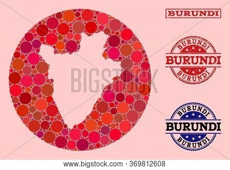 Vector Map Of Burundi Collage Of Circle Blots And Red Rubber Stamp. Hole Circle Map Of Burundi Colla