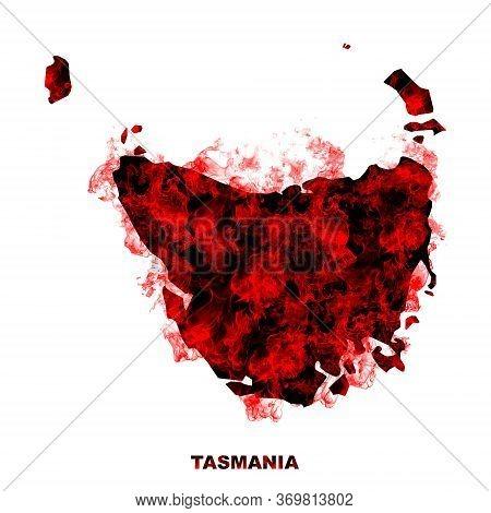 Tasmania Map Fire On White Background. Bushfire In Australia Wilderness. Save Australia Concept. Ser