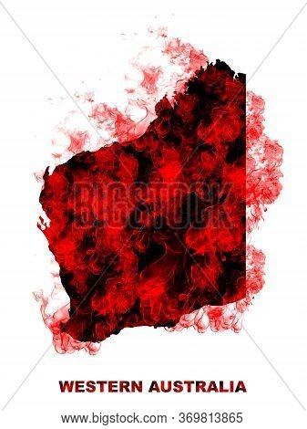 Western Australia Map Fire On White Background. Bushfire In Australia Wilderness. Save Australia Con