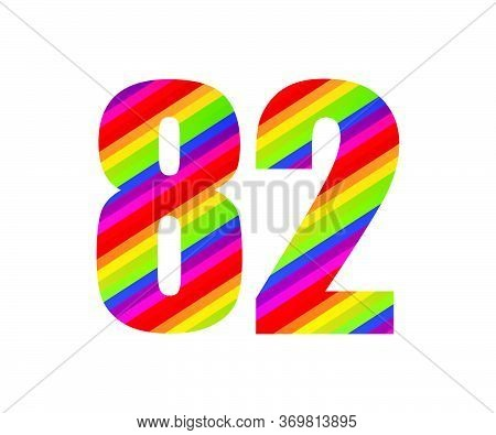 82 Number Rainbow Style Numeral Digit. Colorful Eighty Two Number Vector Illustration Design Isolate