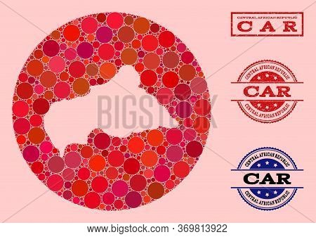 Vector Map Of Central African Republic Collage Of Round Blots And Red Scratched Seal Stamp. Stencil