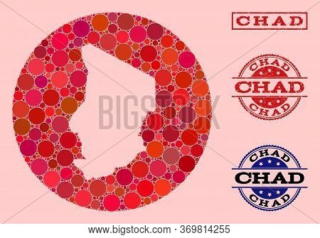 Vector Map Of Chad Collage Of Round Items And Red Watermark Seal Stamp. Stencil Circle Map Of Chad C