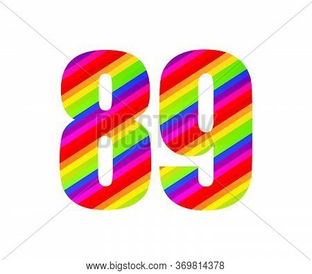 89 Number Rainbow Style Numeral Digit. Colorful Eighty Nine Number Vector Illustration Design Isolat