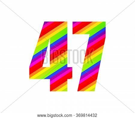 47 Number Rainbow Style Numeral Digit. Colorful Forty Seven Number Vector Illustration Design Isolat