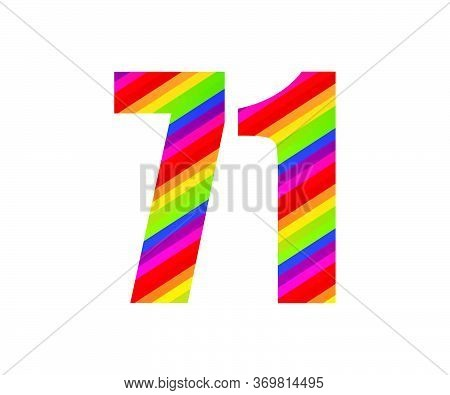 71 Number Rainbow Style Numeral Digit. Colorful Seventy One Number Vector Illustration Design Isolat