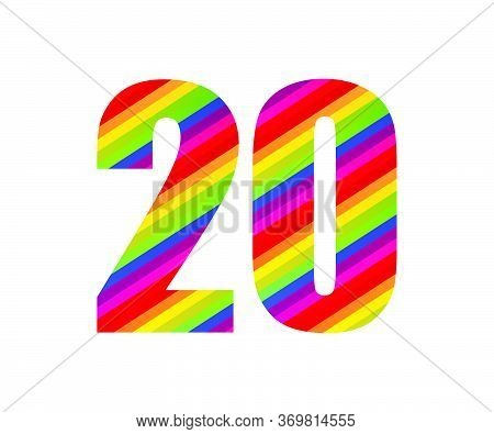 20 Number Rainbow Style Numeral Digit. Colorful Number Vector Illustration