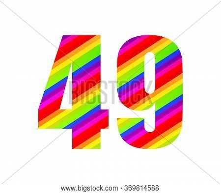 49 Number Rainbow Style Numeral Digit. Colorful Forty Nine Number Vector Illustration Design Isolate
