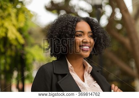 Beautiful Confident African American Woman Smiling Outside
