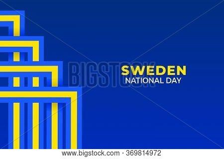 Vector Illustration Of Sveriges Nationaldag. Sweden National Day.