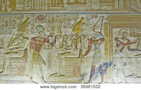 Seti with Osiris Bas Relief